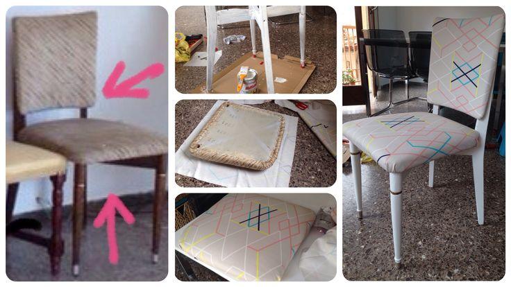 Antes y después de una vieja silla. Pintura (selladora) blanca y retapizado.