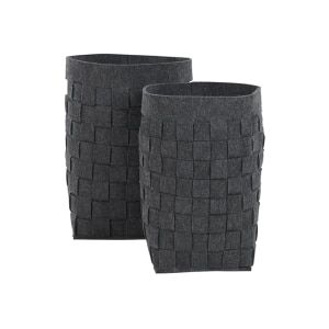 MADE Essentials Bask Set of 2 Felt Woven Laundry Basket, Charcoal  | made.com