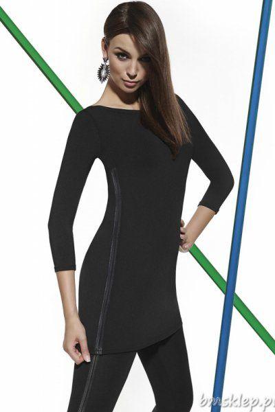 Skórzane wstawki to hit nie tylko tego sezonu, ten #trend jest z nami od kilku lat i pozostanie zapewne jeszcze długo, będąc idealnym wykończeniem dla wielu ubrań. W tym wypadku mamy do czynienia z tuniką, która bez skórzanego dodatku byłaby pewnie całkiem zwyczajną czarną tuniką, a tak nabiera charakteru. Dekolt - łódka podkreśli smukłą szyję, a elastyczny #material o grubości 200 DEN pięknie podkr... #Tuniki - http://bmsklep.pl/tuniki