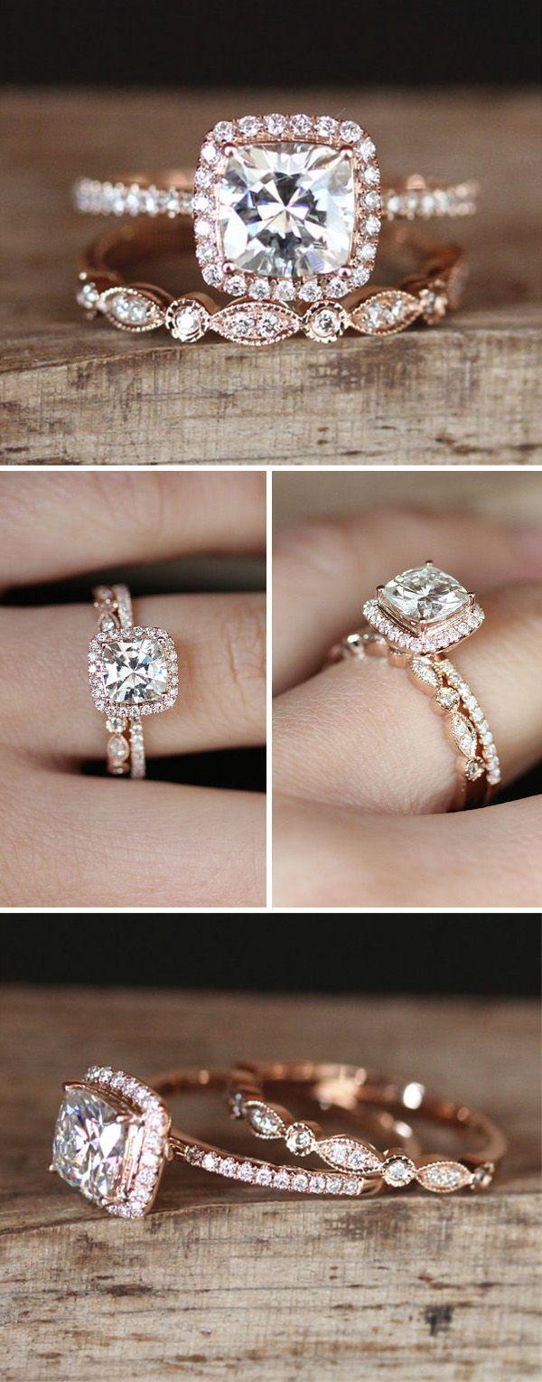 Rose gold engagement wedding ring set #weddingrings