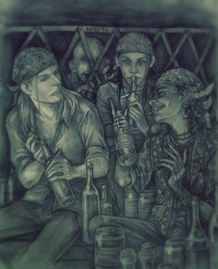 """""""С банками и ложками в руках,в цветных банданах ,что бы не мешали волосы,они до смешного смахивали на трех ведьм,занятых приготовлением колдовских зелий."""" by Ангел Ти"""
