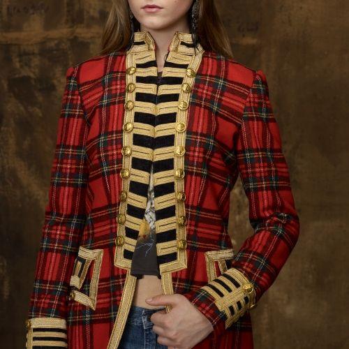 Denim & Supply Ralph Lauren Tartan Officers Coat in Red (front view) | Lyst