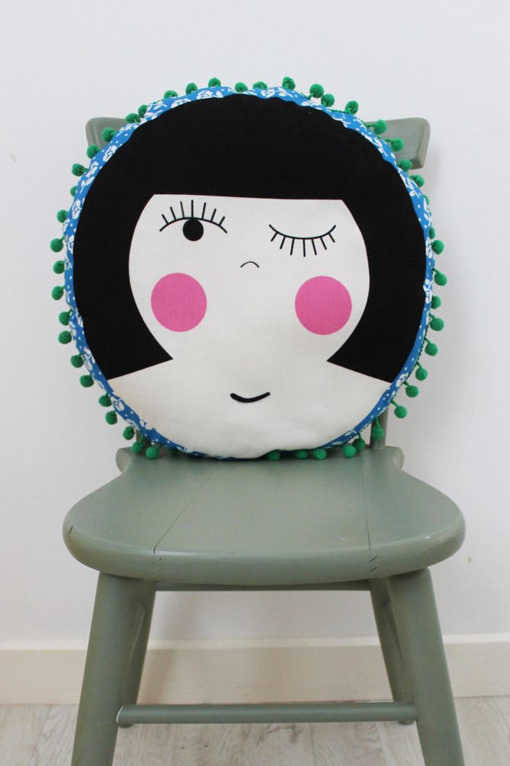 A personal favourite from my Etsy shop https://www.etsy.com/au/listing/249208336/dolly-circular-cushion-with-pom-pom-trim