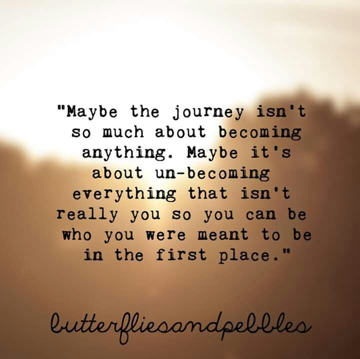 Maybe the journey isn't so much about becoming anything. Maybe it's about un-becoming everything that isn't really you so you can be who you were meant to be in the first place.