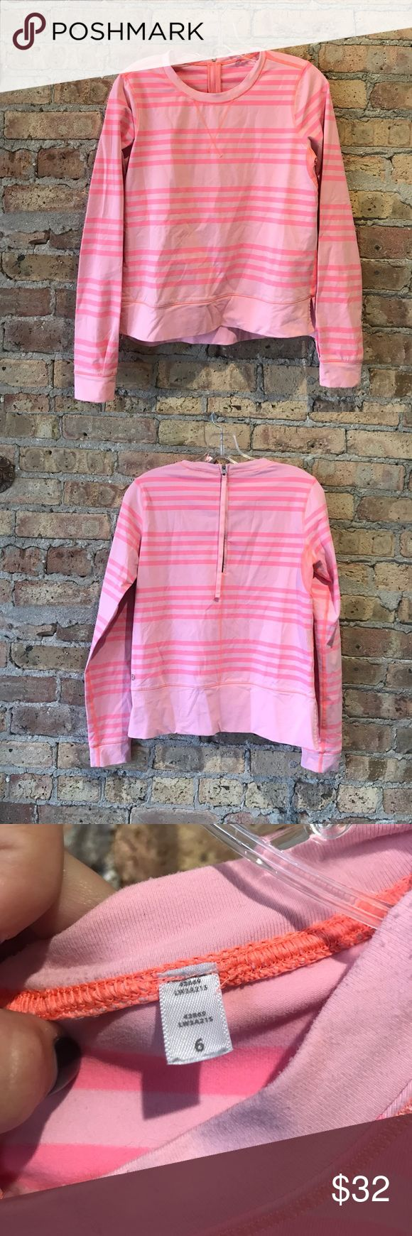 Lululemon pink long sleeve top size 6 Lululemon pink striped long sleeve top size 6. Zipper on back. Preloved great condition. lululemon athletica Tops Tees - Long Sleeve