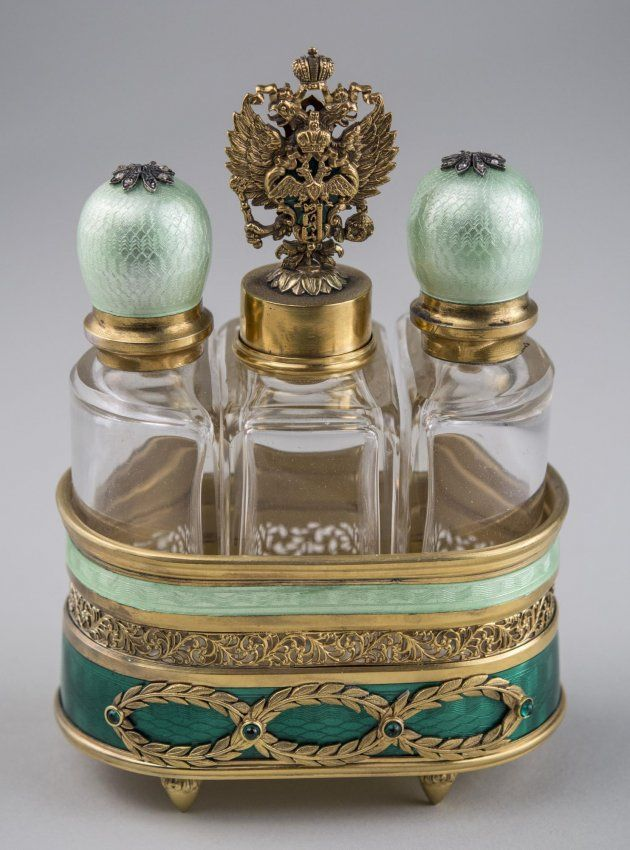 Faberge Style Silver and Enamel Perfume Set * : Silver gild tray, with three glass bottles, green guilloche enamel decoration, jewel accents. Overall, height 5 1/2 inches.