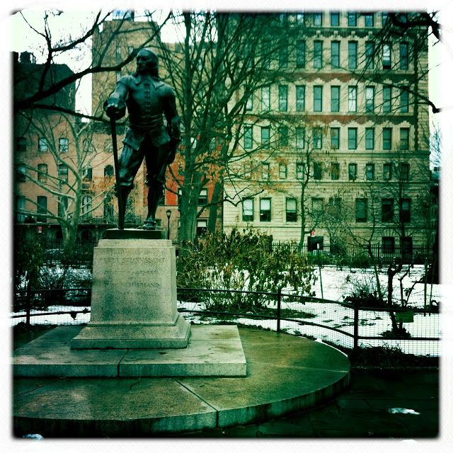 Statue of Peter Stuyvesant, Stuyvesant Square. He was a dutch ministers son, born in Peperga, Friesland (1612 –1672) and served as the last Dutch Director-General of the colony of New Netherland from 1647 until it was ceded to the English in 1664, after which it was renamed New York. His accomplishments included a great expansion of New Amsterdam. Projects built by his administration were the protective wall on Wall Street, the canal that became Broad Street and Broadway.