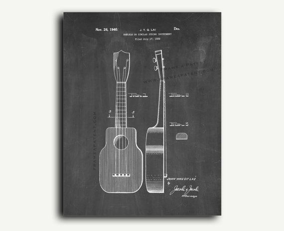 Patent art Etsy listing at https://www.etsy.com/listing/183276574/patent-art-ukulele-instrument-patent