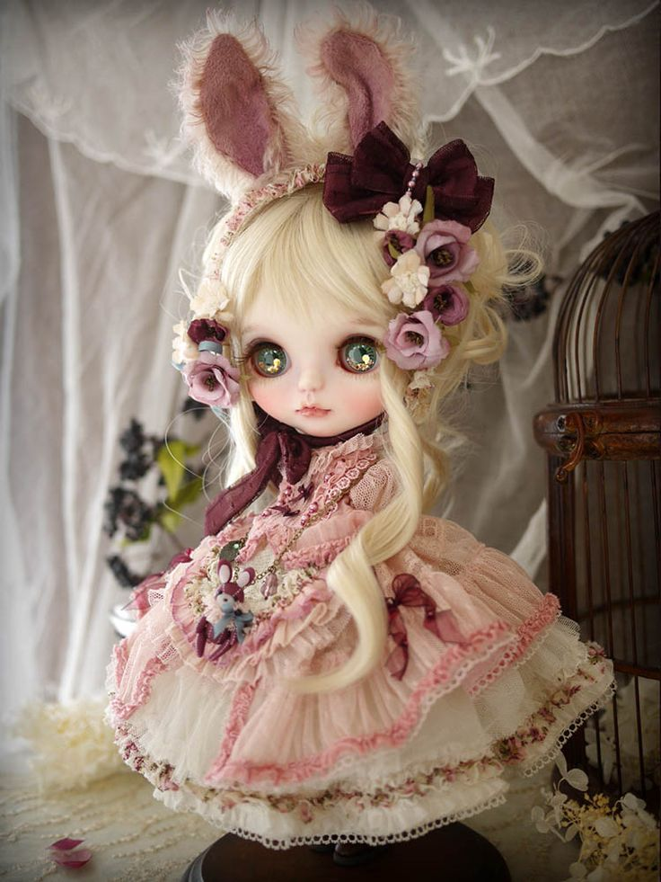 Custom blythe - plum rabbit by Milk Tea
