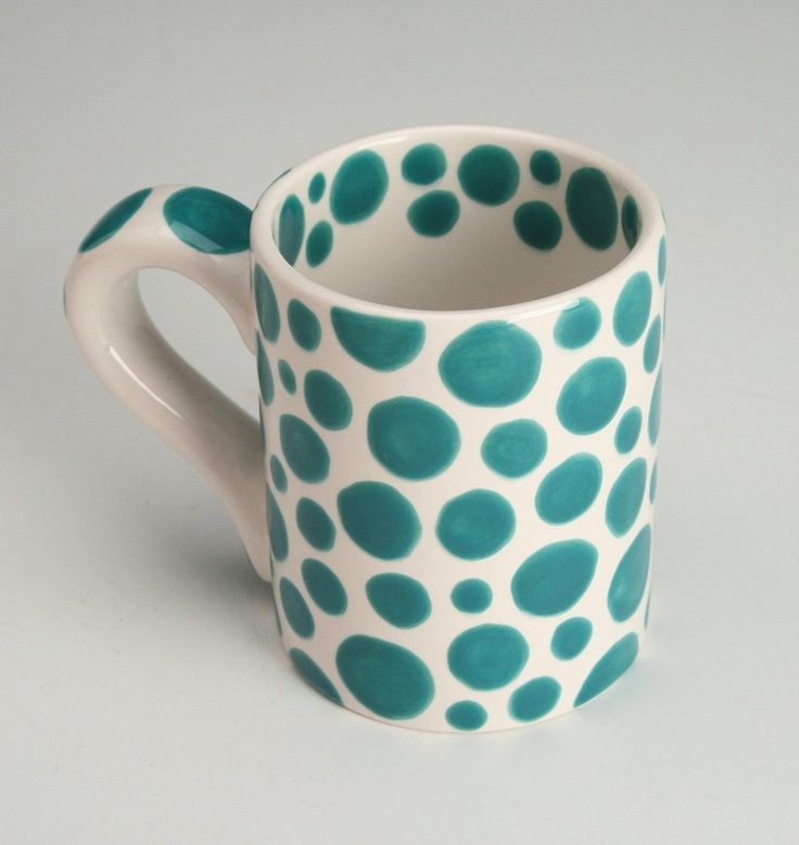 Teal Blue Polka Dots Mug - There are Dots on My Mug - Hand Painted