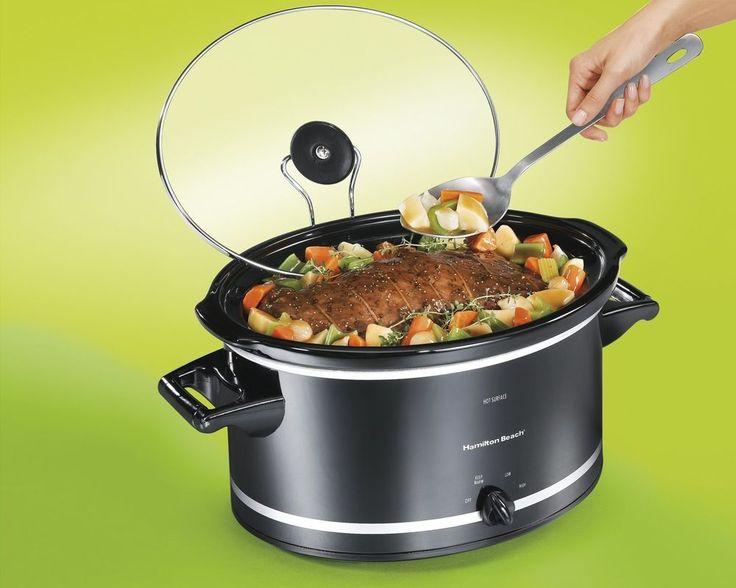 Slow Cooker 8 Quart Hamilton Beach Crock Pot Easy-To-Use Mess Free Lid Black #HamiltonBeach