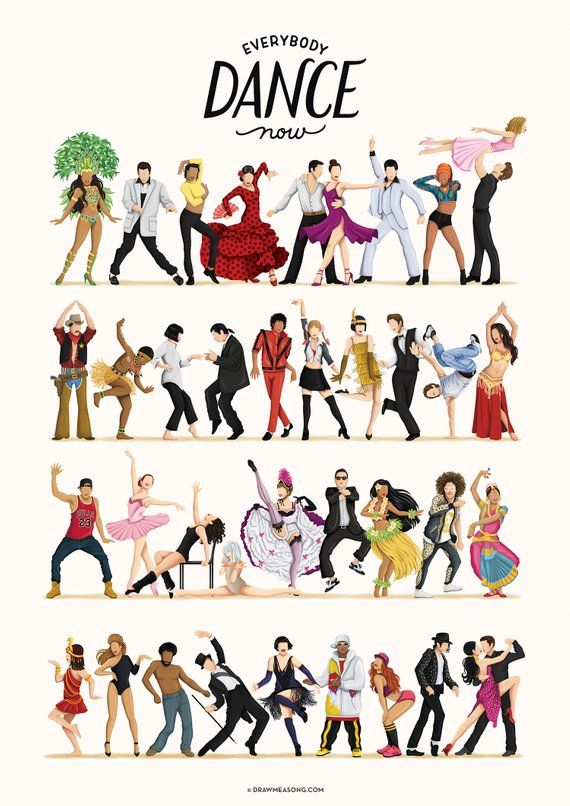 Everybody Dance Now Music Poster, Pop Culture Print, Gift for Her, Fun Pop Art Wall Art, Dancing Gift for Him, Dance Party, Dance Move