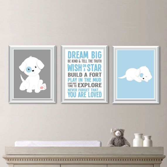 Puppy Dog Nursery Art:  This is a three-print frameless set, featuring two prints with the images of a puppy on a sold background and one