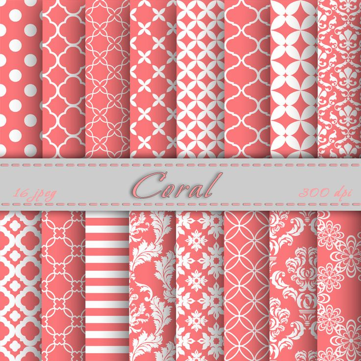 Coral Digital Paper Scrapbooking Papers Patterns Digital Backgrounds Printable For Personal Or Commercial Use