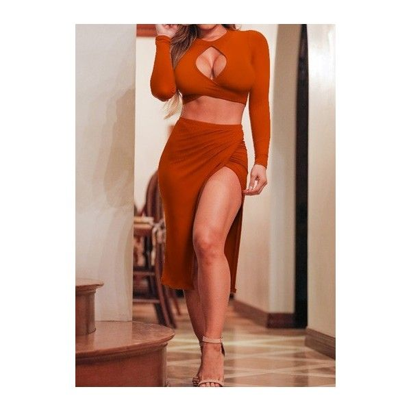 Slit Design Dark Orange Two Piece Dresses ($21) ❤ liked on Polyvore featuring dresses, orange, brown dress, print midi dress, orange midi dress, print dress и mid calf dresses