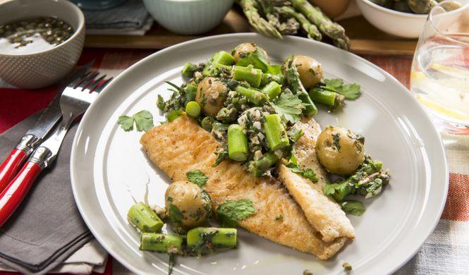 Filets de tilapia et salade crémeuse d'asperges à l'estragon - Qu'est-ce qu'on mange pour souper