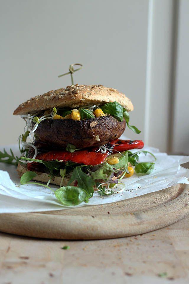 Portobello burger with avocado, roasted paprika, corn & salsa   Yellow lemon tree