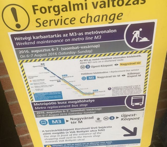 Metrolinie 3 in Budapest teilweise komplett gesperrt!