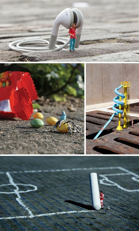 Slinkachu is a UK-based artist who creates tiny scenes on city streets that are both humorous and compelling. He photographs each scene and then leaves it to be discovered.