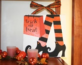 Halloween Decoration Hand Painted on Canvas 10 X 10 Witch