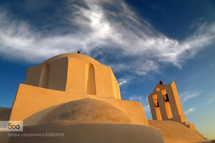 Sunset Effect - Pinned by Mak Khalaf Lighted by sunset colour. In monastery of Zoodochos Pigi Sikinos Cyclades. Travel CycladesSikinosbluechurchcloudsmonasteryskysummersunset by valx0q