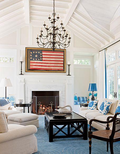 Framed Flag...Decor, Ideas, Living Rooms, Flags, Livingroom, Red White Blue, Interiors Design, Family Rooms, Families Room