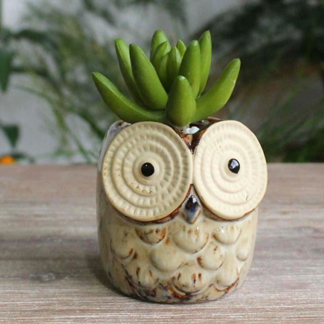 New Kawaii Piante Succulente Vaso di Fiori di Figura Del Gufo dipinto A Mano In Ceramica artigianato/Ornamenti Per il Desktop Casa/Giardino/Ufficio decorazione