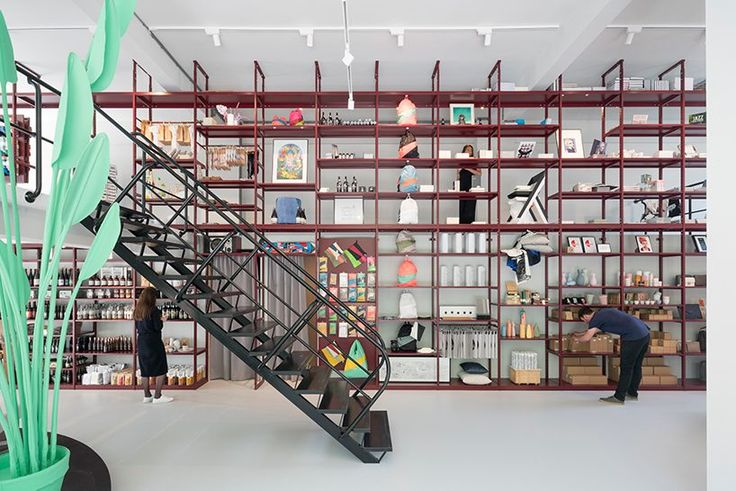 MVRDV designs groos concept store with full height shelving in rotterdam