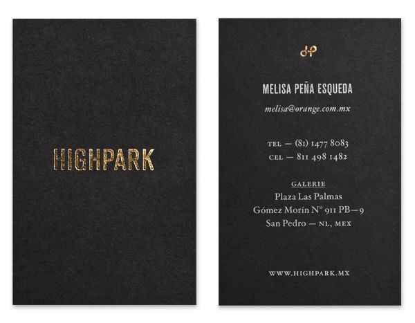 Gold block foil and black board business card designed by Face for Highpark
