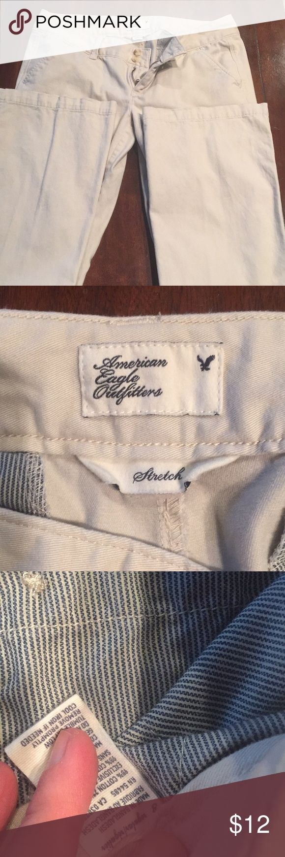 American Eagle 🦅 khaki pants Excellent condition just don't fit anymore. They are super soft from smoke free home. American Eagle Outfitters Pants Boot Cut & Flare
