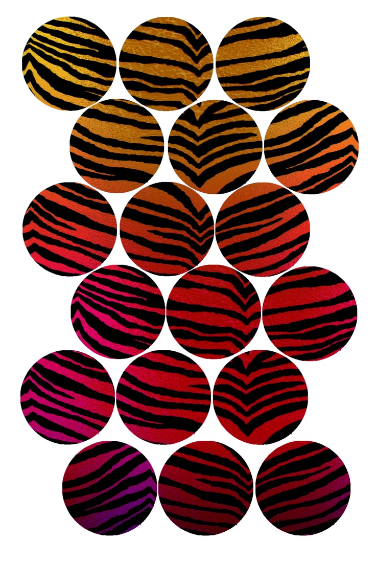 """Tiger Stripes (red rainbow) Bottle cap image pack Formatted for printing on 4"""" x 6"""" photo paper"""