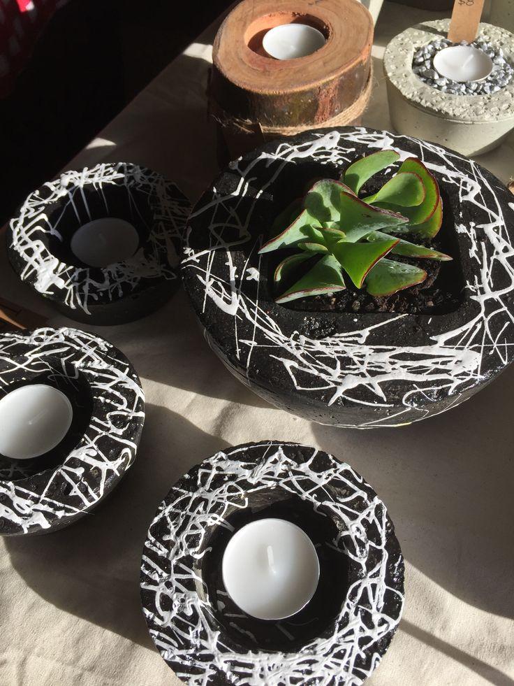 Our 'Ziggy' Collection #blackandwhite #concretepot #succulent #succulove