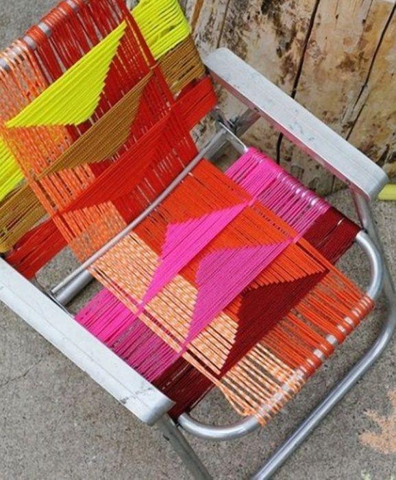 ¡No tires esa vieja silla de aluminio, decórala con esta bella #Idea! #DIY