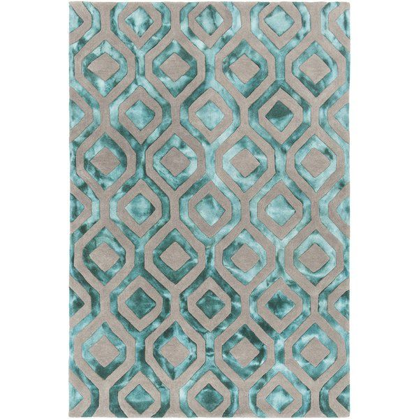 Savon Hand Tufted Teal Gray Area Rug With Images Area Rugs
