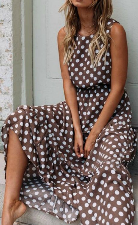 $30.59 SALE! SHOP NOW>>>Round Neck Polka Dots Sleeveless Casual Dresses 3