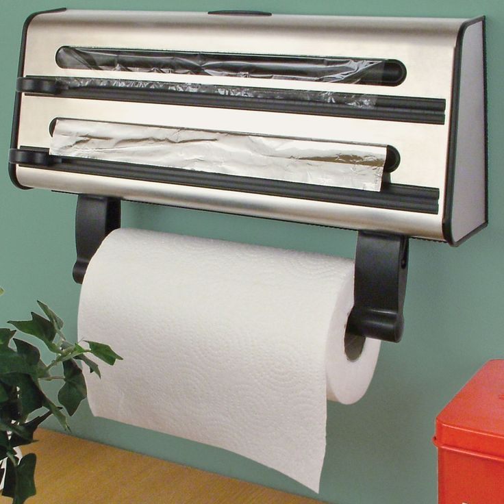 Kitchen Roll Dispenser Cling Film Tin Foil Towel Holder Rack Wall Mounted 3 In 1