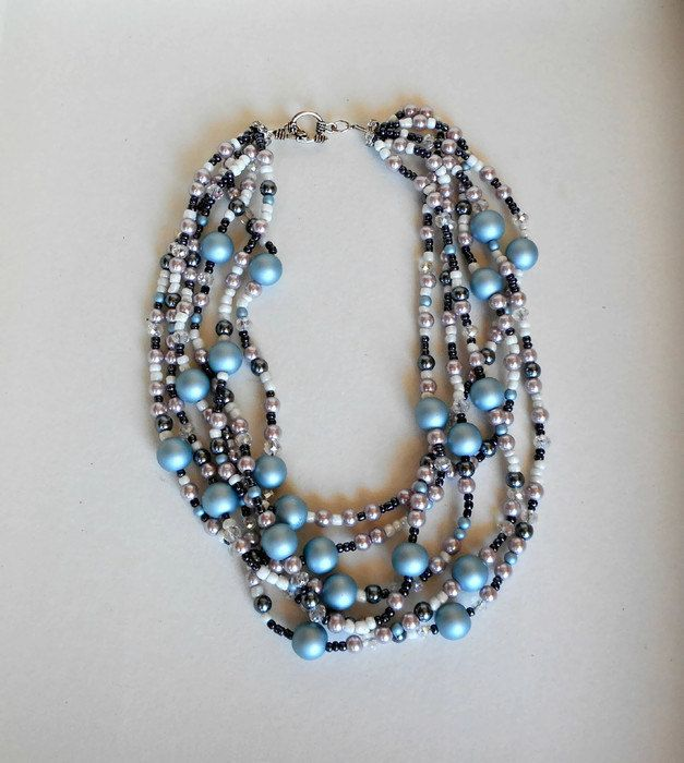 Chunky pearl necklace, Multi strand pearl necklace, Layered pearl necklace…