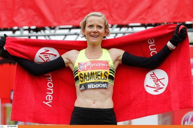 Run-Fast / Brooks athlete Sonia Samuels celebrates after finishing the Women's Elite race as British women's Marathon Champion