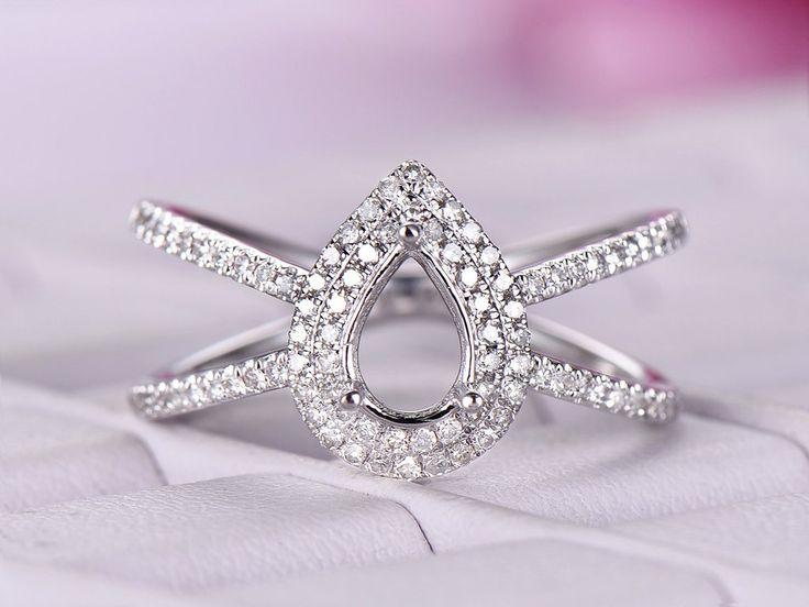 Diamond Engagement Semi Mout Ring 14K White Gold Pear 5x7mm