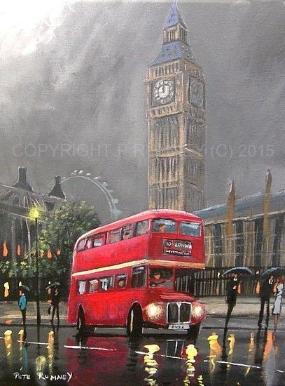 PETE RUMNEY FINE ART MODERN OIL ACRYLIC ORIGINAL PAINTING RED LONDON BUS BIG BEN in Art, Artists (Self-Representing), Paintings | eBay