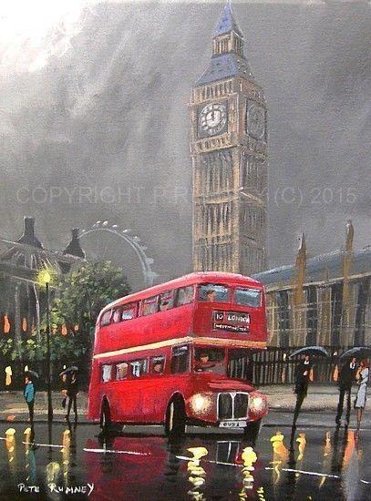 PETE RUMNEY FINE ART MODERN OIL ACRYLIC ORIGINAL PAINTING RED LONDON BUS BIG BEN in Art, Artists (Self-Representing), Paintings   eBay