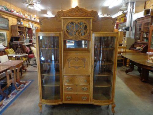 antique-oak-double-sided-secretary-china-victorian-bookcase-desk