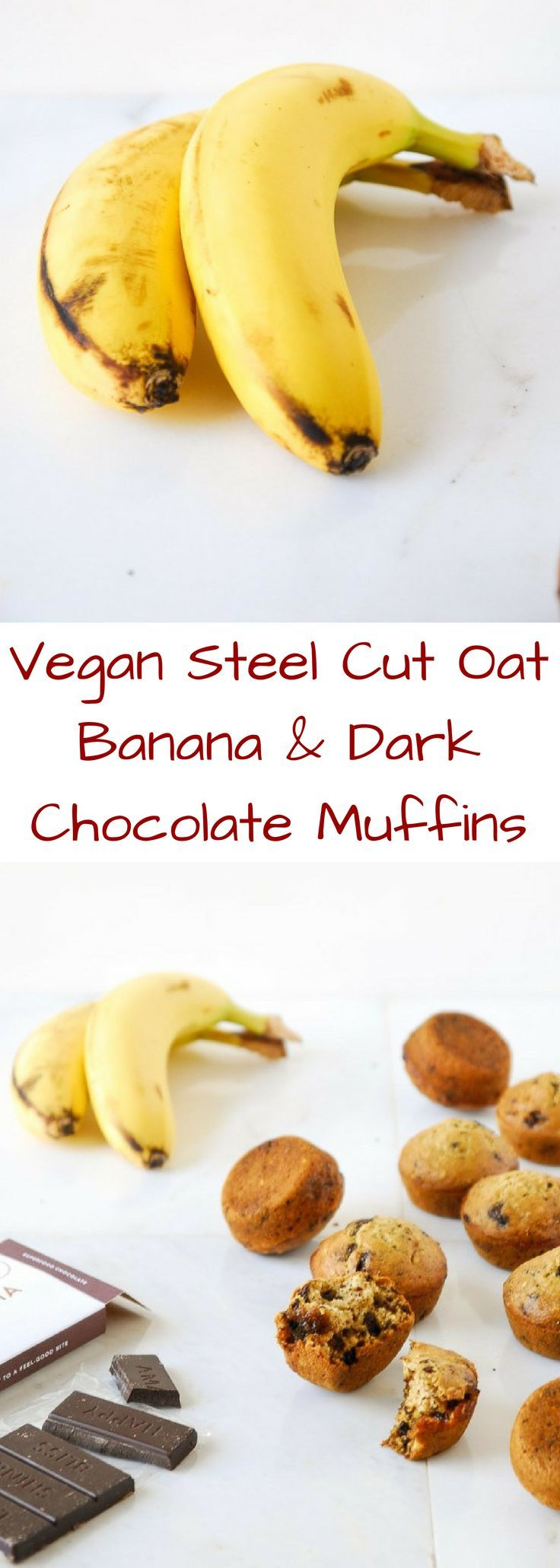 Steel cut oats are the perfect base for a vegan banana muffin studded with dark chocolate chunks!