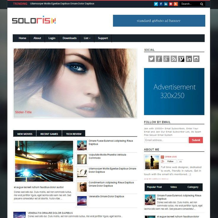 Soloris is a responsive blogger template which has a magazine type design. It can be used for almost any type of blogs over the internet