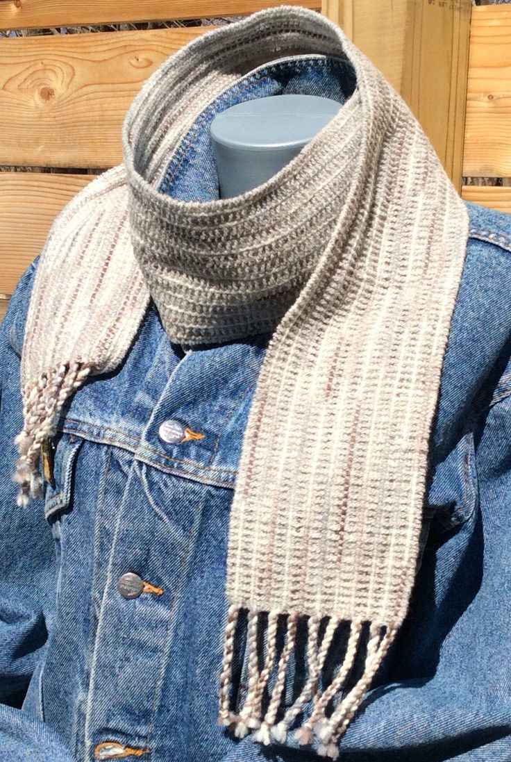 Handwoven wool textured scarf wool winter scarf in