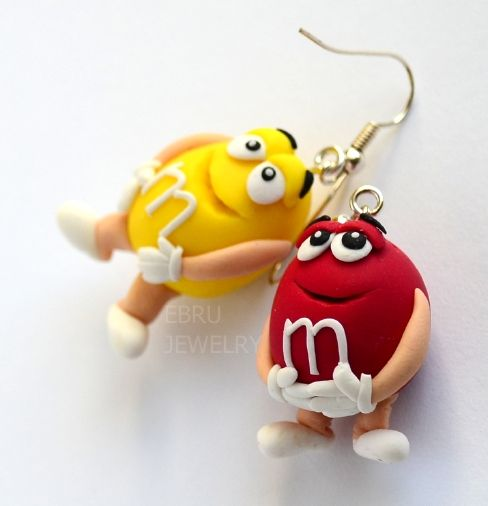 MM's earrings, Polymer Clay, masa flexible, cold porcelain, masa francesa, porcelana fria