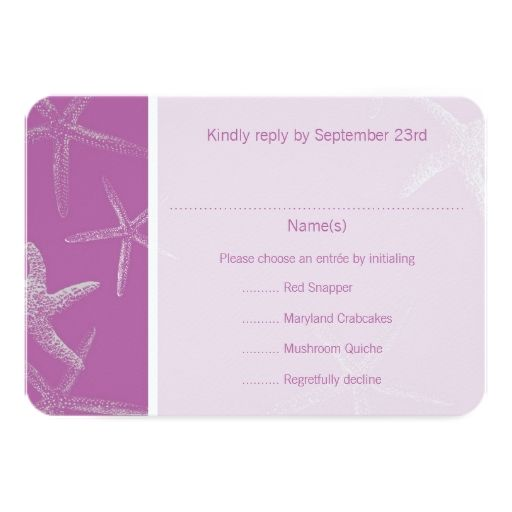 Radiant Orchid Starfish Wedding Menu Reply Card Custom Announcement