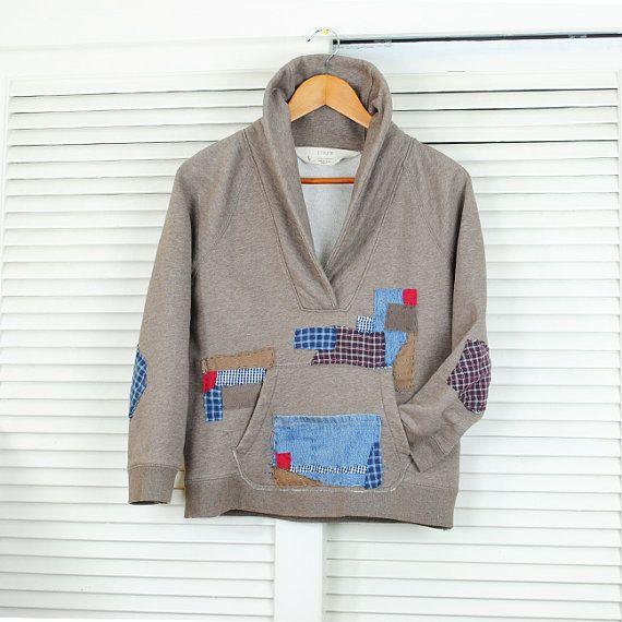 Refashioned J Crew Sweatshirt Hand Stitch by UrsaMajorDesigns