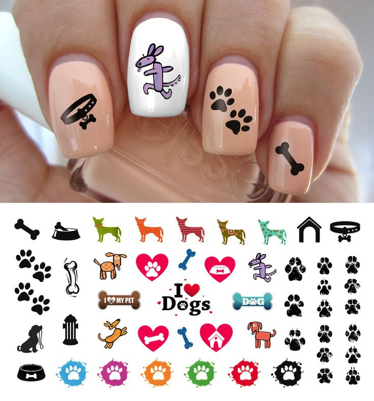 I Love My Dog Paw Prints Nail Decals - 5 1/2