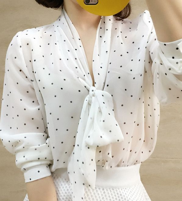 shawl polka dot blouse